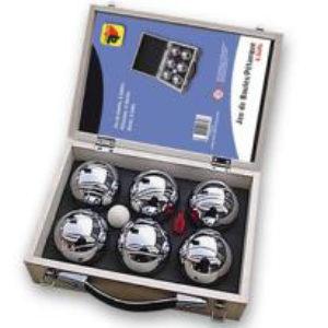 6 jeu de boules ballen in houten koffer
